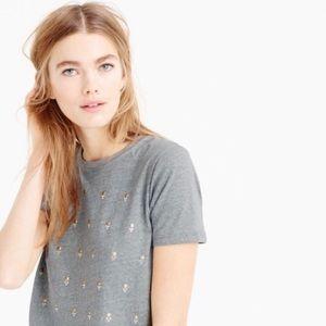 NWT J. Crew Heathered Gray Embellished Dot T-Shirt